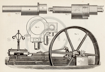Vintage 1800s Sepia Illustration of Machinery.  The natural patina, age-toning, imperfections, and old paper antiquing of this vintage 19th century illustration are preserved in this image.