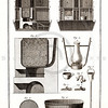 Vintage 1700s Sepia Illustration of Antique Machinery and Tools