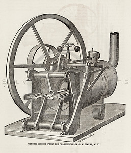 Vintage 1800s Sepia Illustration of an Engine.  The natural pati