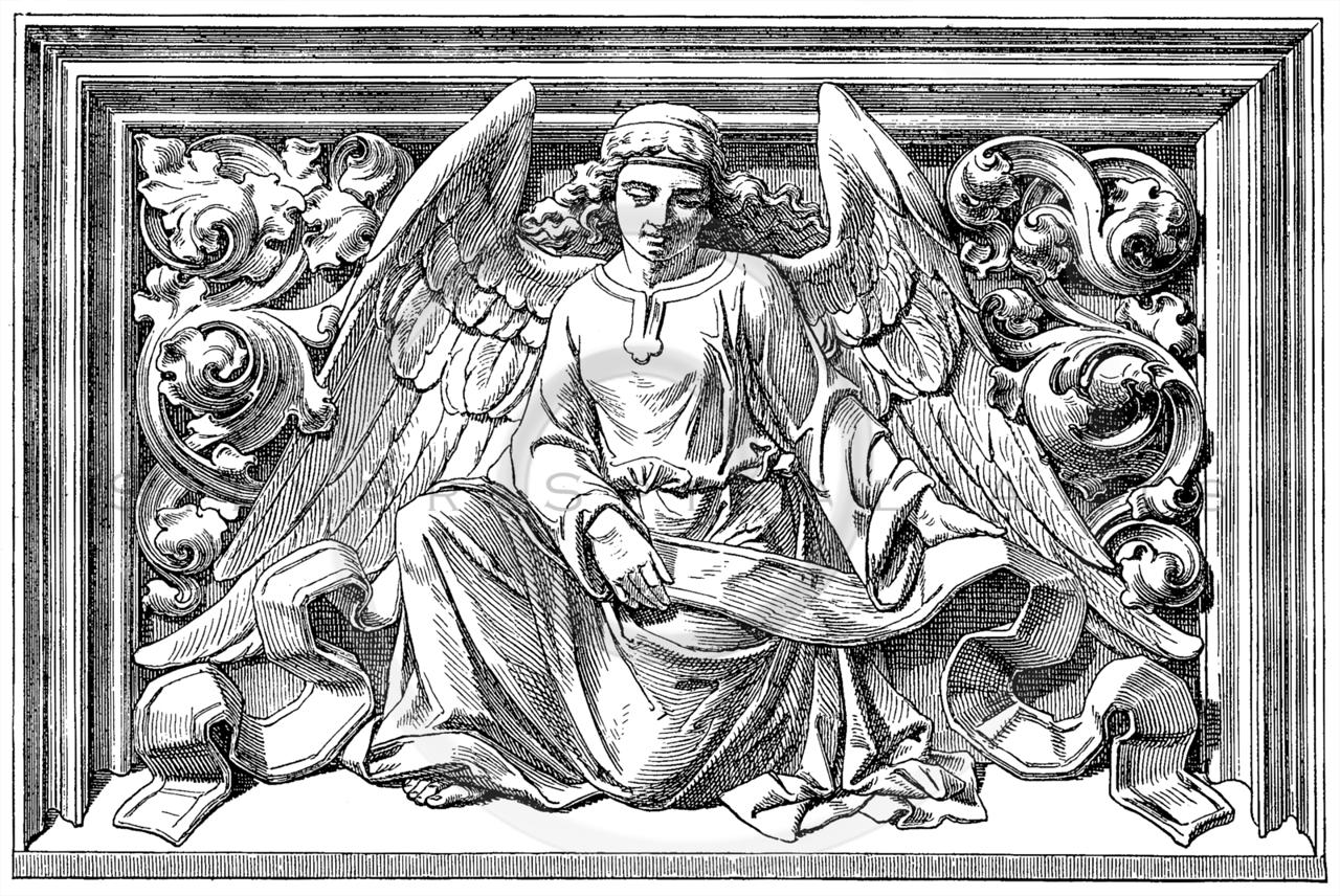 Vintage Angel Sculpture Illustration - 1800s Angels Images.