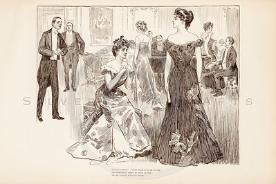 Vintage 1900s Sepia Gibson Girl Illustration of Women at a Party from THE GIBSON BOOK by Charles Gibson.  The natural patina, age-toning, imperfections, and old paper antiquing of this vintage 20th century illustration are preserved in this image.