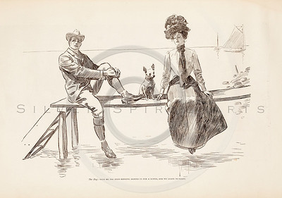 Vintage 1900s Sepia Gibson Girl Illustration of a Man Sitting with a Woman on a Dock from THE GIBSON BOOK by Charles Gibson.  The natural patina, age-toning, imperfections, and old paper antiquing of this vintage 20th century illustration are preserved in this image.