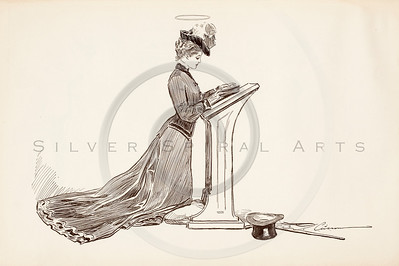 Vintage 1900s Sepia Gibson Girl Illustration of a Woman at a Podium from THE GIBSON BOOK by Charles Gibson.  The natural patina, age-toning, imperfections, and old paper antiquing of this vintage 20th century illustration are preserved in this image.