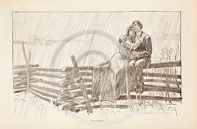 Vintage 1900s Sepia Gibson Girl Illustration of a Man and Woman Sitting on a Fence in the Rain from THE GIBSON BOOK by Charles Gibson.  The natural patina, age-toning, imperfections, and old paper antiquing of this vintage 20th century illustration are preserved in this image.