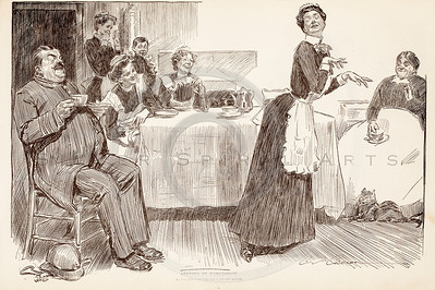 Vintage 1900s Sepia Gibson Girl Illustration of Men and Women at a Table from THE GIBSON BOOK by Charles Gibson.  The natural patina, age-toning, imperfections, and old paper antiquing of this vintage 20th century illustration are preserved in this image.