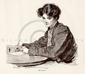 Vintage 1900s Sepia Art Deco Gibson Girl Illustration of a Woman Writing from THE GIBSON BOOK by Charles Gibson.  The natural patina, age-toning, imperfections, and old paper antiquing of this vintage 20th century illustration are preserved in this image.