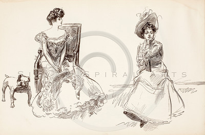 Vintage 1900s Sepia Gibson Girl Illustration from THE GIBSON BOOK by Charles Gibson.  The natural patina, age-toning, imperfections, and old paper antiquing of this vintage 20th century illustration are preserved in this image.