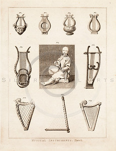 Vintage 1700s Sepia Illustration of Harps - FRAGMENTS OF THE HOLY SCRIPTURES by Calmet.