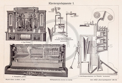 Vintage illustration of Musical Instruments from Meyers Konversations Lexikon 1913 Encyclopedia.  Antique digital download of old print - piano; keys; grand; music; musical; instrument; instruments.  The natural age-toning, paper stains, and antique printing imperfections are preserved in this 1900s stock image.