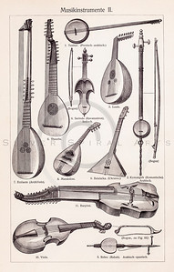 Vintage illustration of Musical String Instruments from Meyers Konversations Lexikon 1913 Encyclopedia.  Antique digital download of old print - music; musical; instrument; instruments; guitar; violin; string; string instrument.  The natural age-toning, paper stains, and antique printing imperfections are preserved in this 1900s stock image.