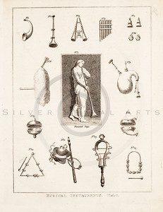 Vintage 1700s Sepia Illustration of Musical Instruments - FRAGMENTS OF THE HOLY SCRIPTURES by Calmet.