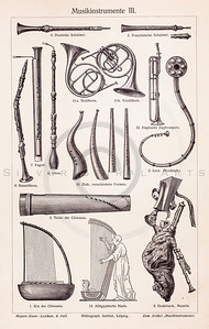 Vintage illustration of Musical Wind Instruments from Meyers Konversations Lexikon 1913 Encyclopedia.  Antique digital download of old print - harp; clarinet; wind; flute; oboe; horn; music; musical; instrument; instruments.  The natural age-toning, paper stains, and antique printing imperfections are preserved in this 1900s stock image.