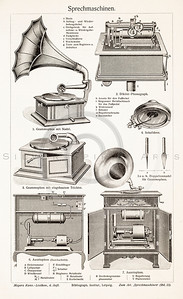 Vintage illustration of Record Players from Meyers Konversations Lexikon 1913 Encyclopedia.  Antique digital download of old print - record; music; disk; player; speaker; sound; system; mechnical; steampunk; machine; machinery; tool; household; equipment.  The natural age-toning, paper stains, and antique printing imperfections are preserved in this 1900s stock image.