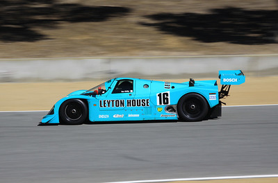 The 1988 Porsche 962-C Coupe Kremer driven by Tom Malloy heads down the hill towards turn 9.