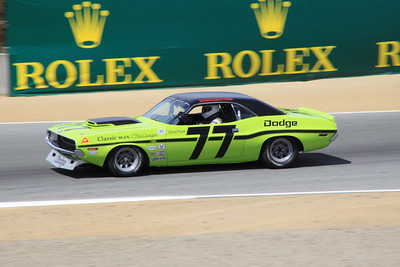Richard Goldsmith drives a 1970 Dodge Challenger out of turn 4.