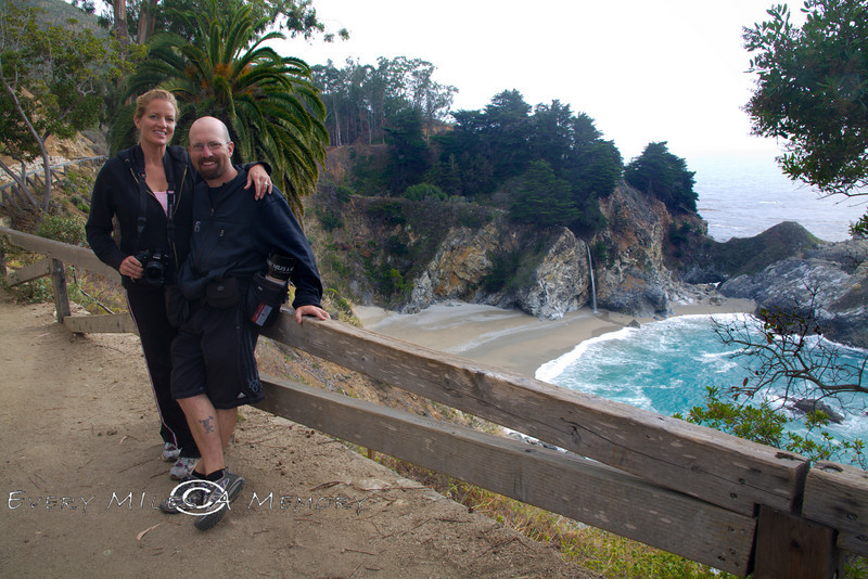 Your Two Fearless Explorers in front of the McWay Waterfall - Pacific Coast Highway