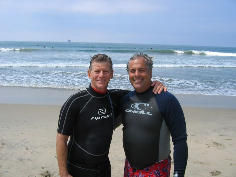 Bill and Pastor Bob Oliver, surfing together at San Onofre.