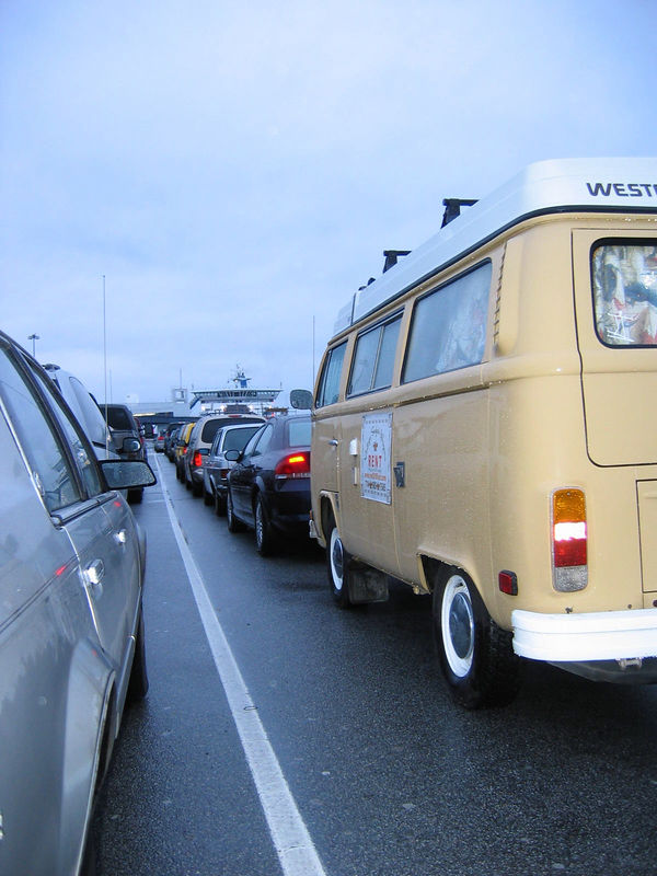 Lining up for the ferry to Vancouver Island