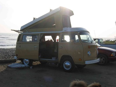 Eddy at the Point, San Onofre, California. Eddy is a VW Deluxe Westphalia Camper, and he's for rent!