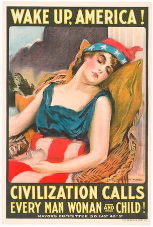 """Title Wake up America! Civilization calls every man, woman and child! / James Montgomery Flagg. Summary Poster shows a woman dressed in Stars & Stripes, symbolizing America asleep. After two and a half years of neutrality, the United States entered World War I on April 6, 1917. James Montgomery Flagg, who created some of the war's most indelible images, sounded the alarm for all citizens in this poster which was featured in """"Wake Up, America"""" Day in New York City just thirteen days later on April 19th. Actress Mary Arthur was Flagg's model for Columbia who is a personification of America and Liberty. She is shown asleep, wearing patriotic stars and stripes and a Phrygian cap--a symbol of freedom since Roman times. While she dozes against a fluted column, another visual reference to Western classical antiquity and civilization, sinister storm clouds gather in the background. (Source: Library exhibition caption) Contributor Names Flagg, James Montgomery, 1877-1960, artist Created / Published N.Y. : The Hegeman Print, 1917. https://www.loc.gov/item/91726511/"""