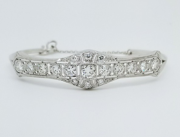 2.54ctw (est.) Old European Cut Diamond Bangle - G/H, VS, Platinum