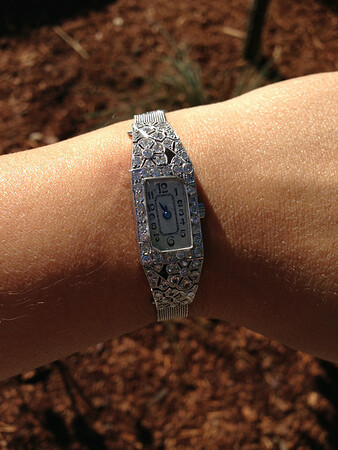 Ladies Vintage Platinum Diamond Watch
