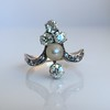 1.00ctw Antique Victorian Diamond and Pearl Tiara Ring 12