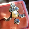 1.00ctw Antique Victorian Diamond and Pearl Tiara Ring 14