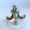 1.00ctw Antique Victorian Diamond and Pearl Tiara Ring 9