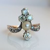 1.00ctw Antique Victorian Diamond and Pearl Tiara Ring 2