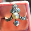 1.00ctw Antique Victorian Diamond and Pearl Tiara Ring 1