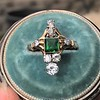 1.01ctw Victorian Emerald (syn) and Diamond Dinner Ring 1