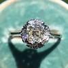 1.02ctw Vintage Old Mine Cut Diamond Halo Ring 18