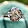 1.02ctw Vintage Old Mine Cut Diamond Halo Ring 15