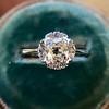 1.02ctw Vintage Old Mine Cut Diamond Halo Ring 6