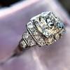 1.10ct Old European Cut Diamond Art Deco Frame Ring GIA J VS2 9