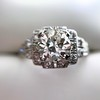 1.10ct Old European Cut Diamond Art Deco Frame Ring GIA J VS2 19