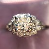 1.10ct Old European Cut Diamond Art Deco Frame Ring GIA J VS2 22