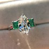 1.27ct Art Deco Pear Cut Diamond and Emerald Trilogy Ring, GIA H VS2 0