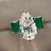 1.27ct Art Deco Pear Cut Diamond and Emerald Trilogy Ring, GIA H VS2 8