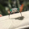 1.27ct Art Deco Pear Cut Diamond and Emerald Trilogy Ring, GIA H VS2 7