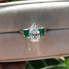 1.27ct Art Deco Pear Cut Diamond and Emerald Trilogy Ring, GIA H VS2 6