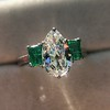 1.27ct Art Deco Pear Cut Diamond and Emerald Trilogy Ring, GIA H VS2 5