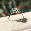 1.27ct Art Deco Pear Cut Diamond and Emerald Trilogy Ring, GIA H VS2 4