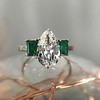 1.27ct Art Deco Pear Cut Diamond and Emerald Trilogy Ring, GIA H VS2 2