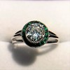 1.30ctw Old European Cut Diamond Emerald Target Ring 18