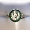 1.30ctw Old European Cut Diamond Emerald Target Ring 7