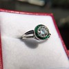1.30ctw Old European Cut Diamond Emerald Target Ring 10