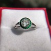 1.30ctw Old European Cut Diamond Emerald Target Ring 16
