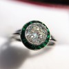 1.30ctw Old European Cut Diamond Emerald Target Ring 31